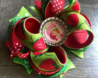 Strawberry shortcake, strawberry shortcake hair bow, hair bows, bows, green hair bow, green and red hair bow, boutique strawberry