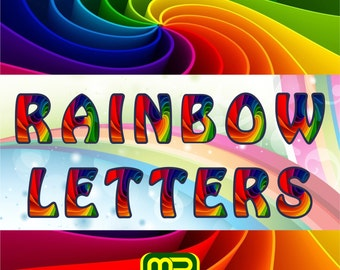 Rainbow alphabet scrapbook digital paper pack - Clip Art