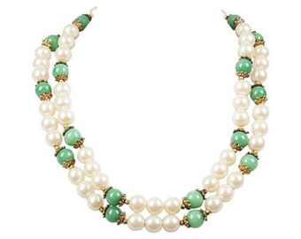 Faux-Pearl & Jade Necklace by Mimi di N