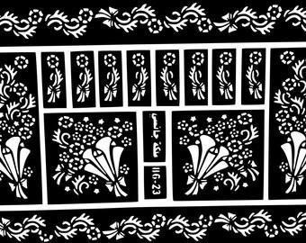 Flowers Henna stickers tattoo body art Mehndi Stencils