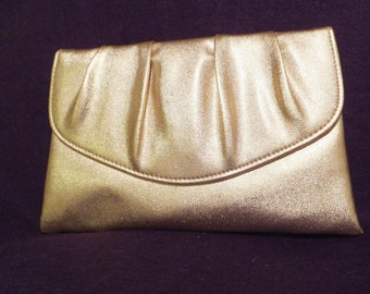 Evening Clutch, Vintage from 1960's, Gold Lame, Hollwood Style