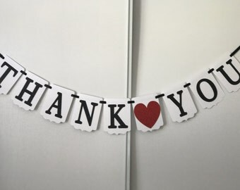 Thank You banner/ Wedding banner/ Thank you sign/ Black Red and White banner/ Glitter Banner