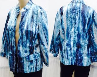90's CHICO's TYE DYE ,Funky Blues,Black,Metallic Silver Shinny Cropped blazer,coat,jacket Size 1