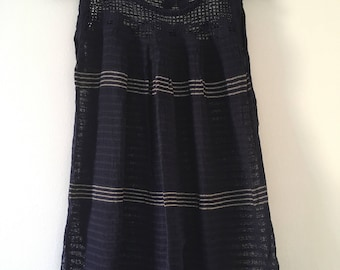 Tradicional Mexican Navy Blue Blouse of Loom
