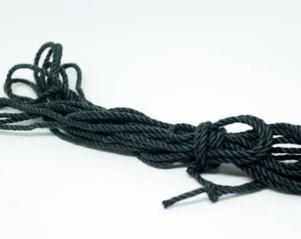 BDSM torture rope BLACK Ultra thin