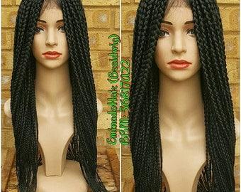 Braided Wig, wholelace/full lace unit, loose braids. Black colour. 18-20 inches. Braidwig, Braidswig