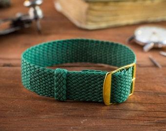 Green perlon strap ( 18mm ) waterproof nylon strap, watch strap, watch band, perlon band