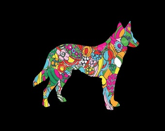 German Shepherd Patterned Vinyl Decal, perfect for your car, tumbler, laptop, tablet, and more!  Choose your favorite pattern and size!