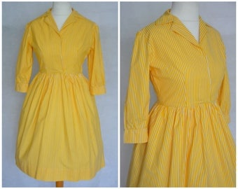Vintage Late 50s / Early 60s Cotton Shirt-waist Yellow Striped Dress size 12 M