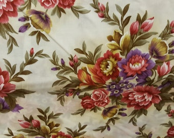 Large Floral Beige Keepsake Calico Cotton Quilting Fabric, Fabric End of Bolt 13 Inches