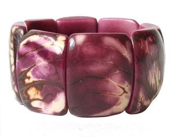 Tagua Bracelet, Purple Bangle Bracelet, Eco-Friendly Bracelet, Sustainable Jewelry, Handmade Bracelet, gift women, chunky bracelet, bohemian