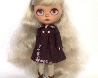 tweed coat for Blythe maroon