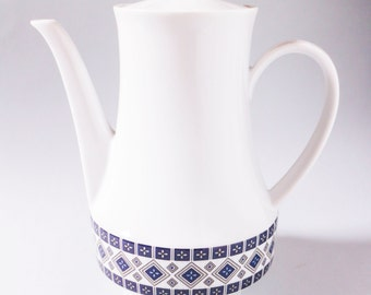 Vintage coffeepot - Nordic folklore pattern in 70s design style - Porcelain blue and white
