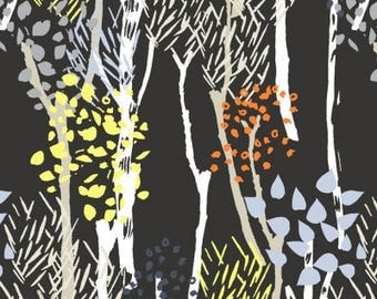 Midnight Forest - SALE 8.99 Yard - Midnight Forest in Ebony 559 - WILDWOOD - Dear Stella Design Fabric - Dark Navy Blue background