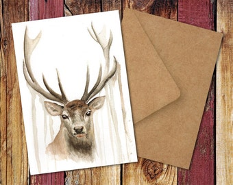 Proud Stag Watercolour Greetings Card - Christmas, Birthday, Any Occasion
