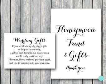 Wedding Gift Honeymoon Fund Card And Sign Cash Towards Decoration