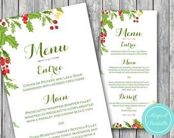 Christmas, Xmas, Dinner Party, Personalized Menu, Custom Wedding Menu Printable, Wedding Menu Template , Snow Menu WS71  WM162
