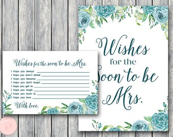Teal Wishes for the Bride to be Card, Wishes for the Soon to be Mrs, Engagement Party Game, Bridal shower Game Printable, Download TH77