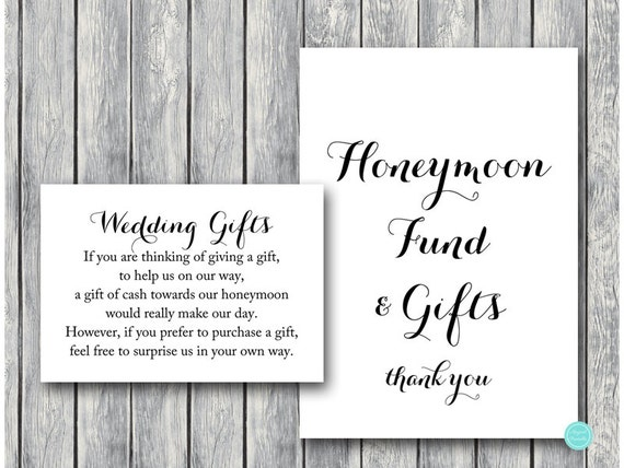 Wedding Gift Honeymoon Fund Card And Sign Cash Towards