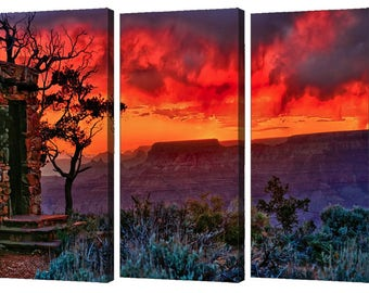 Grand Canyon Stormy Sunset at the Watchtower Triptych Set, Grand Canyon Sunset,Three Piece Modern Wall Art From The American Southwest