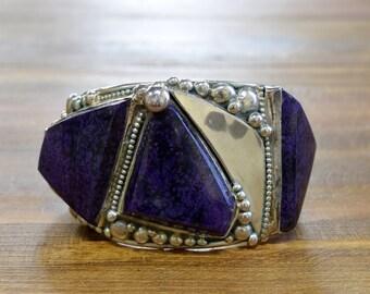 Vintage Navajo Sugilite Sterling Silver Cuff Bracelet by E & C Fierro