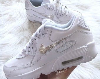 Nike Air Max 90 White customized with SWAROVSKI® Xirius Rose-Cut Crystals.