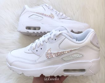 Nike Air Max 90 White customized with SWAROVSKI® Xirius Rose-Cut Crystals AB