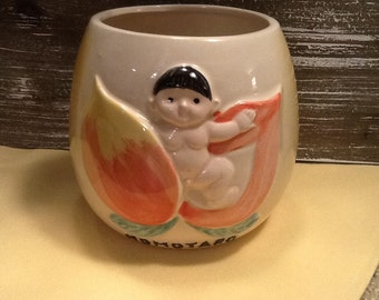 Kyoto Otagiri Momotaro Peach Boy OMC Japan Unusual Vintage Mug Ceramic Cup