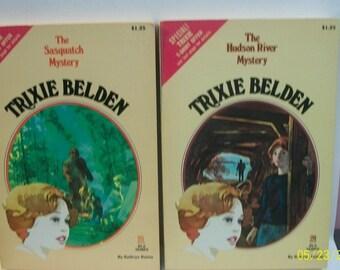 Trixie Belden Hudson Ricer Mystery #28, Sasquatch Mystery #25 By Kathryn Kenny  2 Trixie Belden Detective Oval Paperbacks  1979
