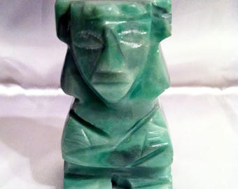 Vintage Mexican Green Onyx Stone God Statue