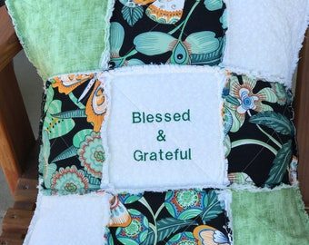 Blessed & Grateful Pillow Cover, Quilted Pillow, Throw Pillow Cover, Embroidery Pillow, Homemade Pillow, Colorful Pillow, Green White, Gift