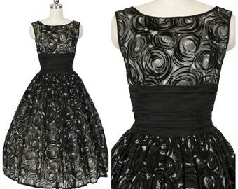 Elegant 1950's Velvet Flocked New Look Party Dress