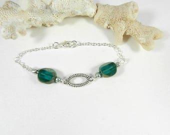 Bracelet silver green, chic woman, boho jewelry bracelet, bracelet designer jewelry, handmade