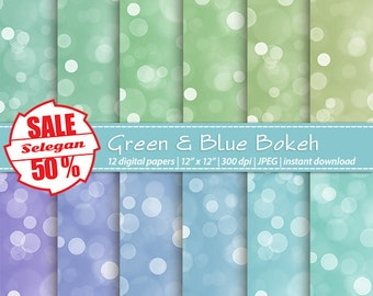 "SALE 5O% "" Green & Blue Bokeh "" Digital Paper, Scrapbook, Paper, 12x12, Printable,Bokeh,Pattern,Lighting,Glitter,Texture, Twinkle,Background"