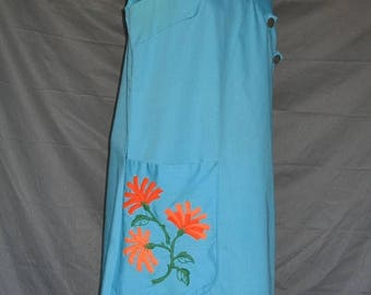 On Sale Early 1960's Sky Blue Sleeveless  Cotton Day Dress Flower Embroidery