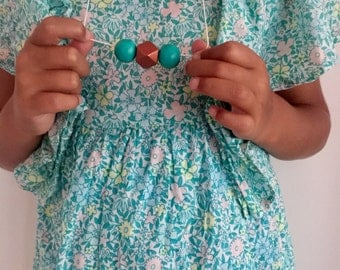 Wooden bead necklace // aqua rose gold geometric beads // hand painted