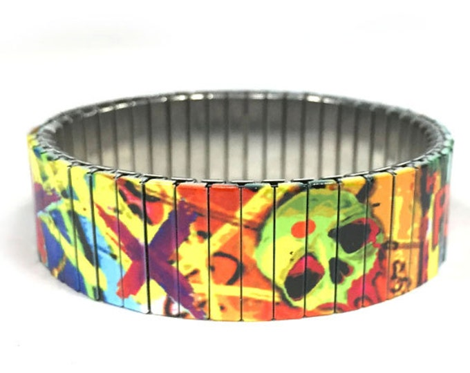 Suicide squad bracelet, Stretch, Stainless Steel, repurposed watch band, Sublimation, gift for friend