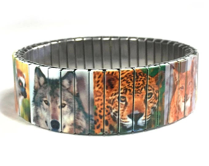 Wildlife bracelet, Nature, Animal Kingdom, Stretch Bracelet, Repurpose Watchband, Sublimation, Stainless Steel, gift for friends
