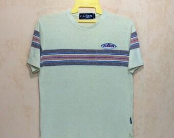 Vintage BEN AIPA Surfboards Surfing Rainbow Stripes T-shirt Mens Medium Size