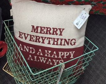 Merry Everything and Happy Always Vintage Santa Farmhouse Rustic Christmas Pillow