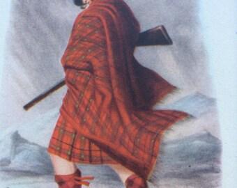 1948 Scottish Highland Dress Original Vintage Print - MacNaughton Clan - Matted and Ready to Frame - 8 x 10 inches - Kilt - Scotland