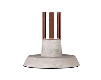 Modern cement & copper table lamp