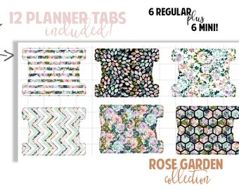 Planner Page Tabs : ROSE GARDEN COLLECTION | Set of 12 Planner Tabs | DreamPlanRepeat