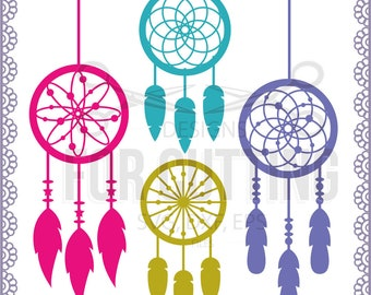 Dream Catcher Feather  monogram Frame, cut Files SVG DXF EPS. dreamcatcher Cutting or Printing, Instant Download. 0465