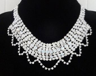 Vintage Diamante Necklace, Rhinestone Necklace, Crystal Necklace, Statement Diamante Necklace, Art Deco Revival Necklace