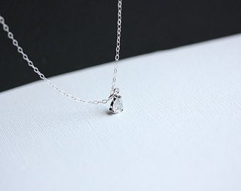 Cubic Zirconia Necklace, White Zirconia Necklace in Sterling Silver, Delicate Necklace, CZ Silver Pendant in sterling silver, Gift for her