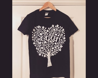Screen Pinted Papercut Design Vegan T-Shirt