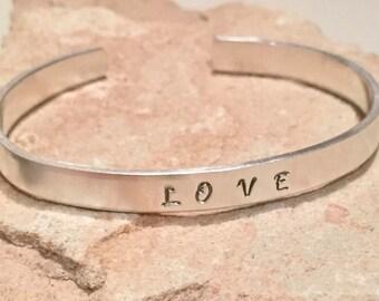 Sterling silver cuff bracelet, cuff bracelet, word cuff bracelet, sterling silver bangle,  bangle bracelet, love bracelet, gift for wife