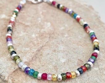 Multicolored bracelet, cubic zirconia bracelet, Hill Tribe silver bracelet, fall bracelet, sundance style bracelet, gift for her