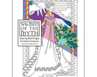 Greek Mythology Goddesses Coloring Pages for Adults Digital Printable PDF, Instant Download